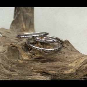 3 sterling silver stacking rings, size 4